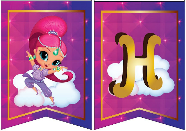 Shimmer and Shine Free Printable Happy Birthday Banners.