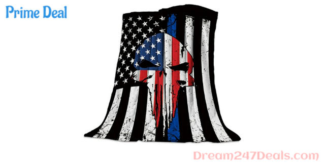Flannel Fleece Blanket 49x79inch Vintage American Flag Punisher Skull Ultra Soft Lightweight All-Season Throw/Blanket for Sofa Couch Bed