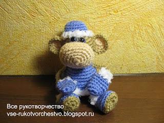 вязаная обезьянка снегурка