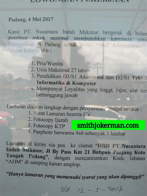 Lowongan Kerja Padang: PT. Nusantara Indah Makmur Mei 2017