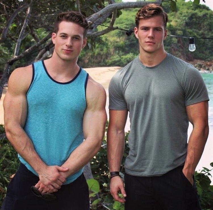 two-cute-buddies-muscle-studs-huge-swole-biceps-beach