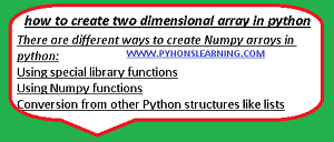 how to create two dimensional array in python