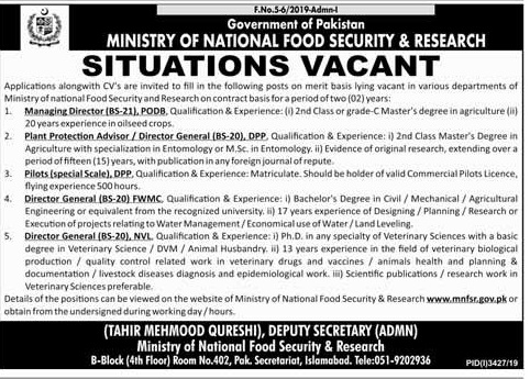 Ministry of National Food and Security Research jobs 2020