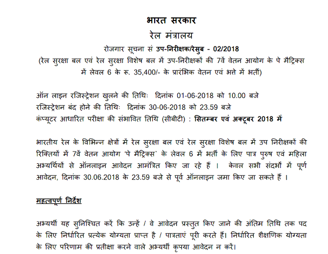 RRB Railway RPF 2018 SI (1120 Posts) and RPF Constable (8619 Posts) Recruitment Notification PDF Download