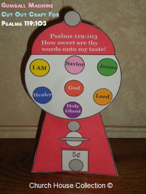 Bubblegum Machine Cut Out Craft  For Psalms 119:103- Sunday School Crafts For Kids