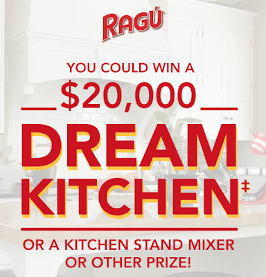 Ragu is giving away a $20,000 dream kitchen makeover! Lots and lots of other prizes, like a Kitchen Stand Mixers and Vegetable Spiralizers!