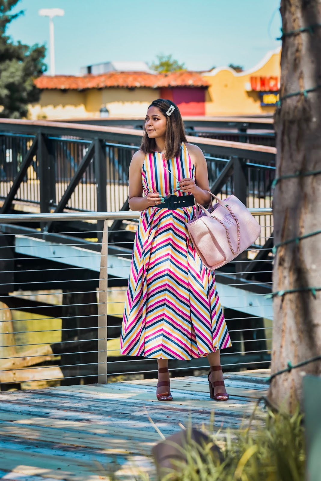 j crew stripe dress, midi dress, fall fashion, colorful stripes dress, belt over dress, custom made bag, madden girl sandals, casual style, street style, myriad musings