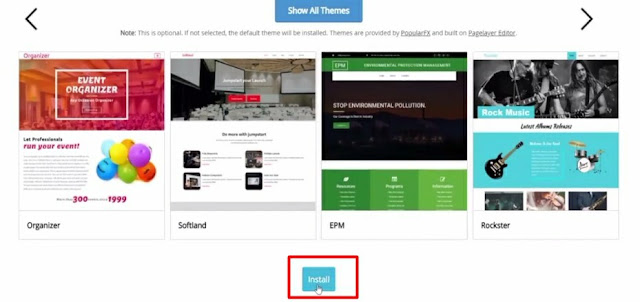 complete the installation of wordpress by clicking on the install button