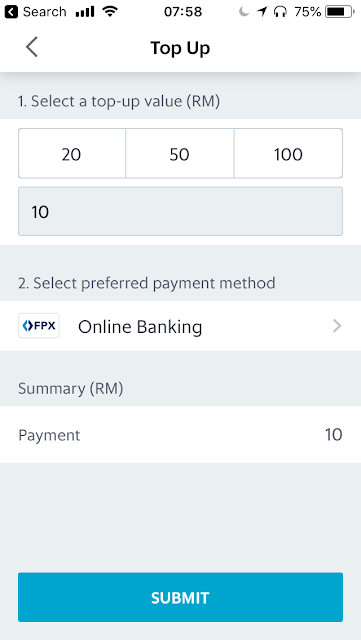 GrabPay top-up via online banking