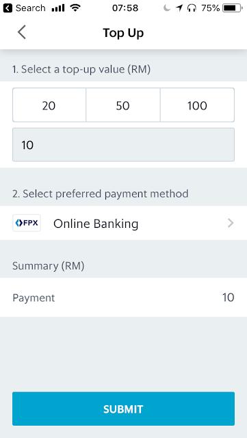 GrabPay top-up via online banking