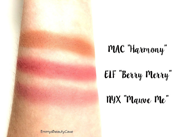 Berry Toned Blush Swatches, MAC Harmony, NYX Mauve Me, ELF Berry Merry