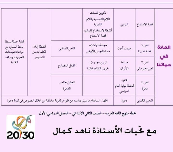 تحليل منهج اللغة العربية الصف الثاني الابتدائي 2020 أ/ حسام أبو أنس 12