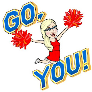 "A cartoon version of myself wearing a red tank top and skirt, waving pompoms with the words ""Go You!"" in bold blue type edged in yellow."
