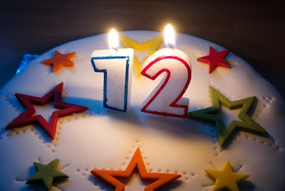 "Birthday cake with candles for ""12""."