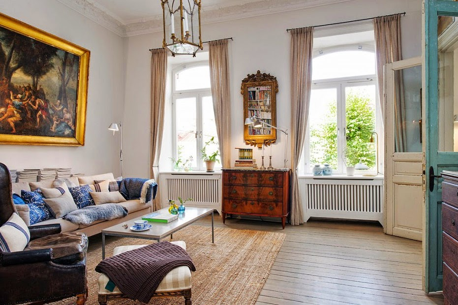Estilo shabby chic bello interior de una antigua casa - Como decorar una casa antigua ...