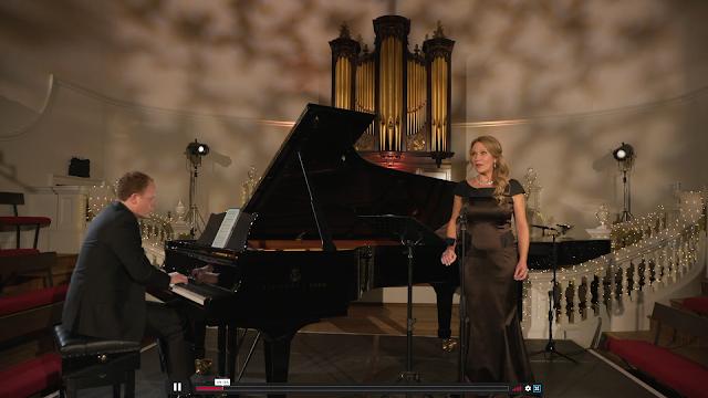 Joseph Middleton, Carolyn Sampson performing Cheryl Frances-Hoad's Six Songs of Melmoth at Oxford Lieder Festival 2020 (Photo taken from live stream)