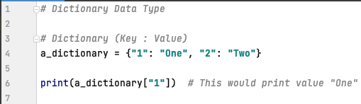 Dictionary data type in Python