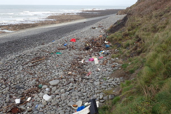 Marine litter on Cockington Mouth beach. Copyright North Devon Coast AONB (All Rights Reserved)