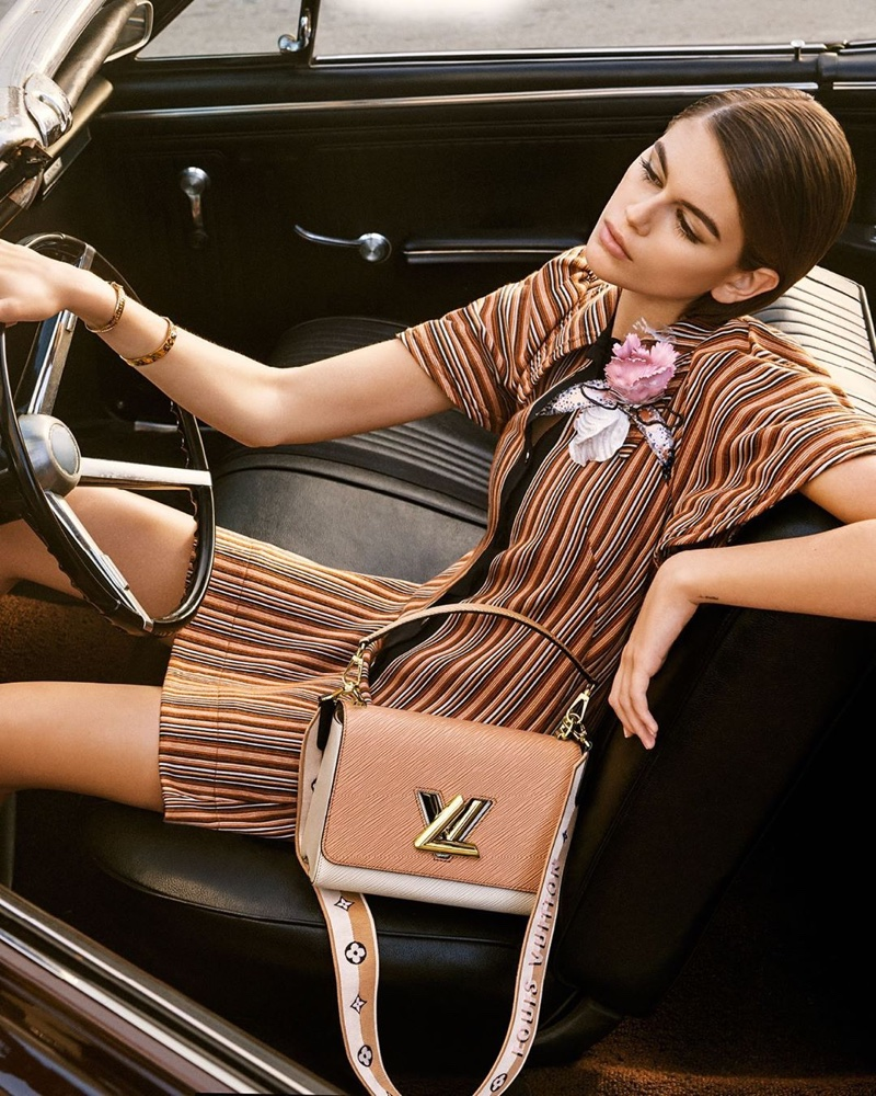 Model Kaia Gerber appears in Louis Vuitton Twist spring 2020 handbag campaign