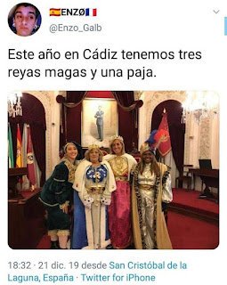 Tres reyes magos mujeres y un paje mujer en Cádiz