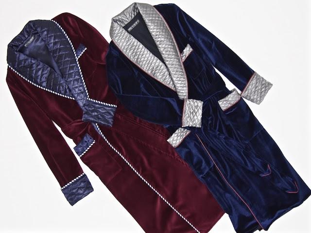 Mens velvet dressing gown silk robe red blue