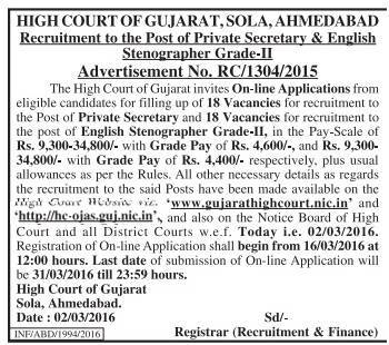 Gujarat High Court Recruitment 2016