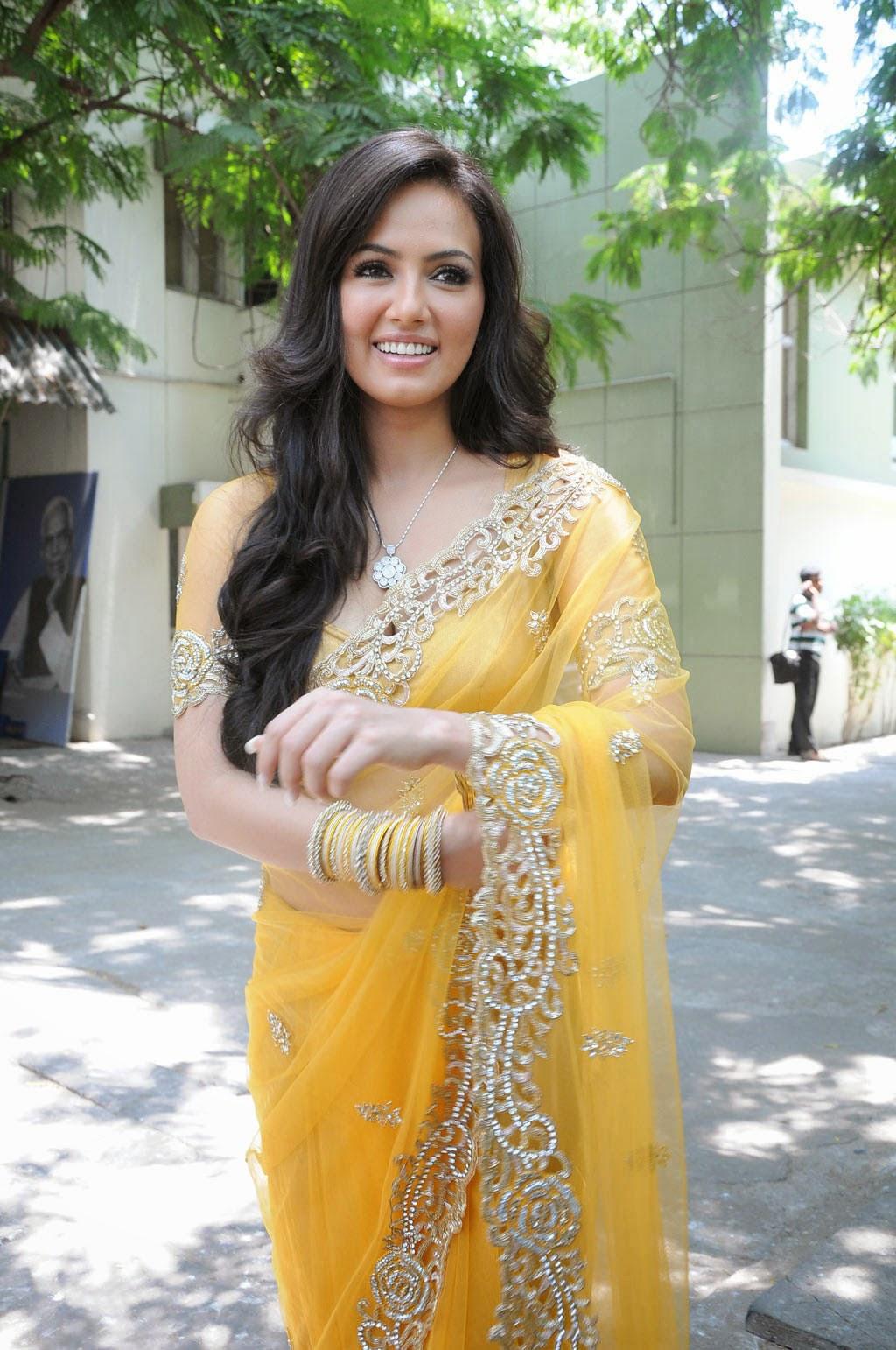 Transparent Saree: Sana Khan Latest Navel Show In Yellow Transparent Saree