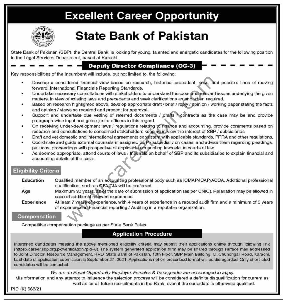 https://career.sbp.org.pk - SBP State Bank of Pakistan Jobs 2021 in Pakistan