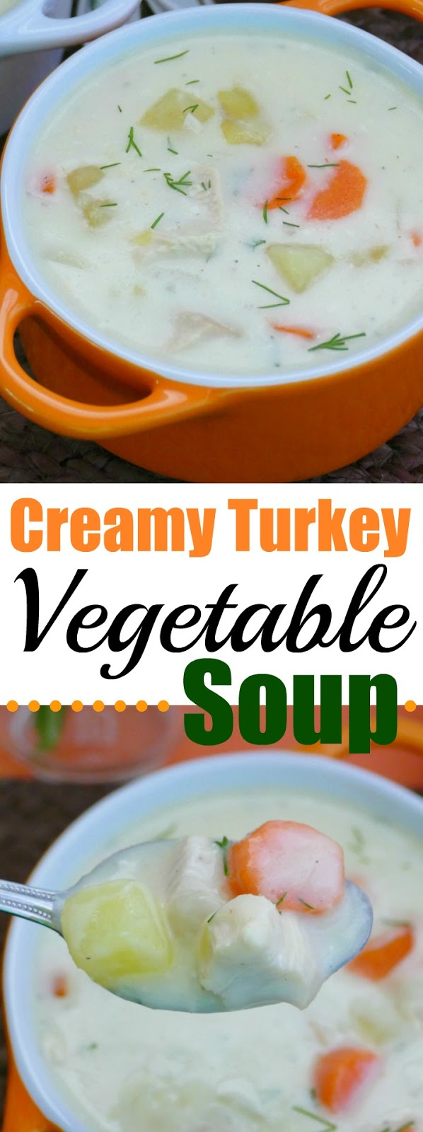 If you have leftover turkey after the holidays, give this delicious cream soup a try! The dill and cream cheese give this soup a unique flavor and the potatoes and carrots make it SO hearty! Also great with leftover rotisserie chicken!