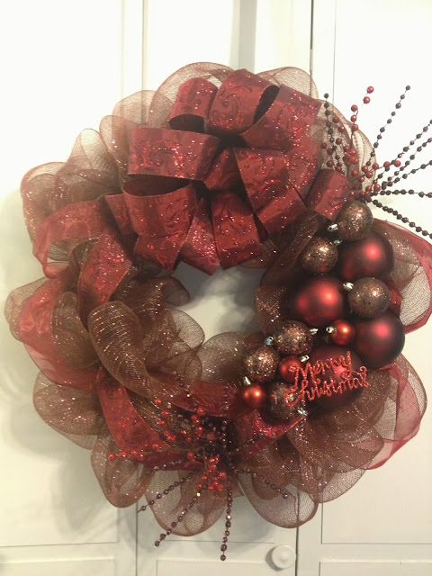 Christmas Holiday Décor Wreath - Deco Mesh - Chocolate & Cranberry - Tangled Wreaths™