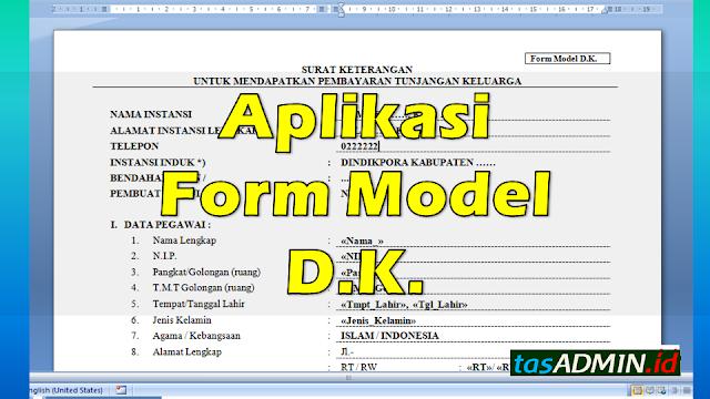 aplikasi form model dk surat usulan tunjangan keluarga