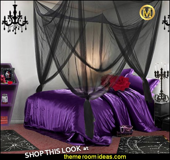 gothic purple bedding Black bed Canopy red rose pillows coffin furniture candelabra Gothic bedroom ideas - Gothic bedroom decor - Gothic bedding - Gothic wall decorations - Gothic furniture - Gothic Wall Murals - Gothic chic - Victorian Gothic boudoir themed decor - gothic living room - vampire bedroom decorating ideas - Graveyard bedroom ideas - Gothic style bedroom decorating ideas