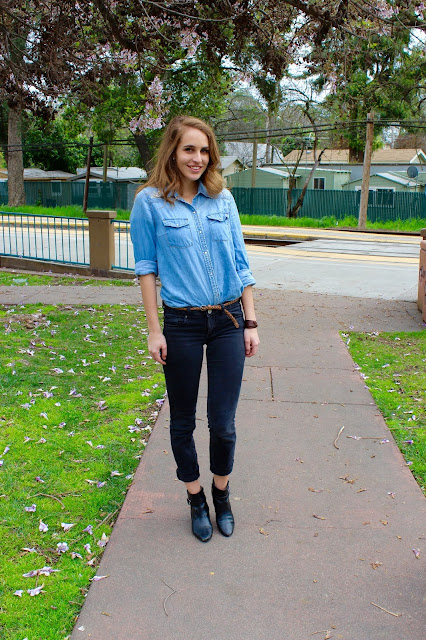 Different ways to style chambray shirts