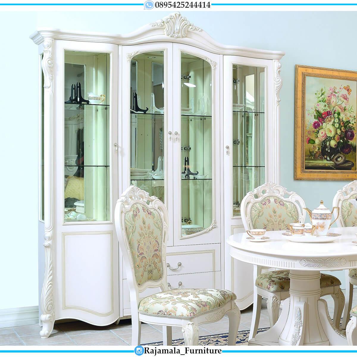 Lemari Pajangan Putih Duco Mewah Ukiran Jepara Luxury Classic RM-0567