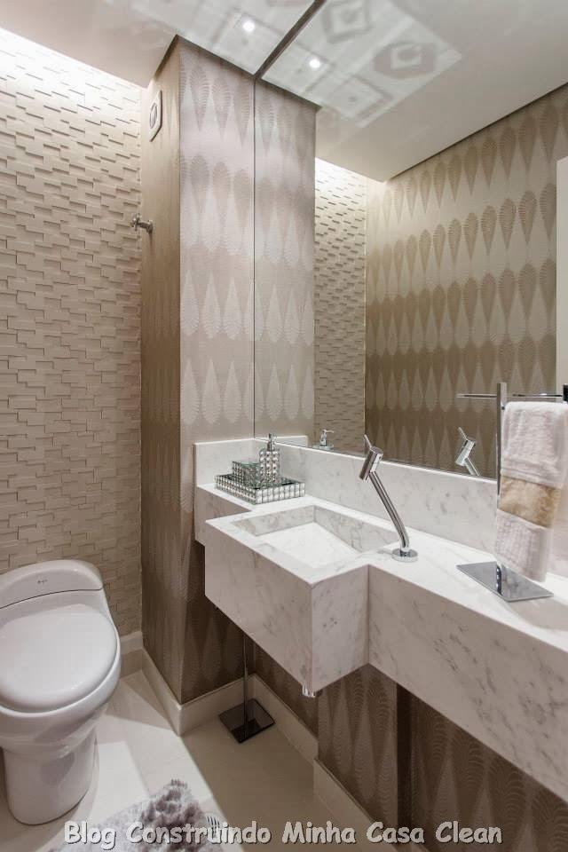 Construindo Minha Casa Clean 30 Dicas de Banheiros e Lavabos Decorados e Mod -> Banheiro Moderno Com Papel De Parede