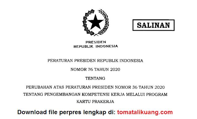 peraturan presiden perpres nomor 76 tahun 2020 tentang kartu pra kerja; perpres nomor 76 tahun 2020 pdf; tomatalikuang.com