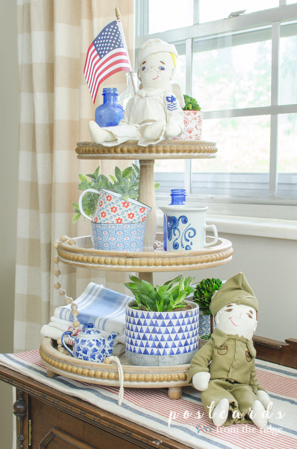 three tier wood tray with red white and blue patriotic decor
