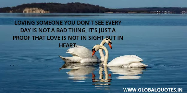 Loving someone you don't see every day is not a bad thing, It's just proof that love is not in sight but in heart