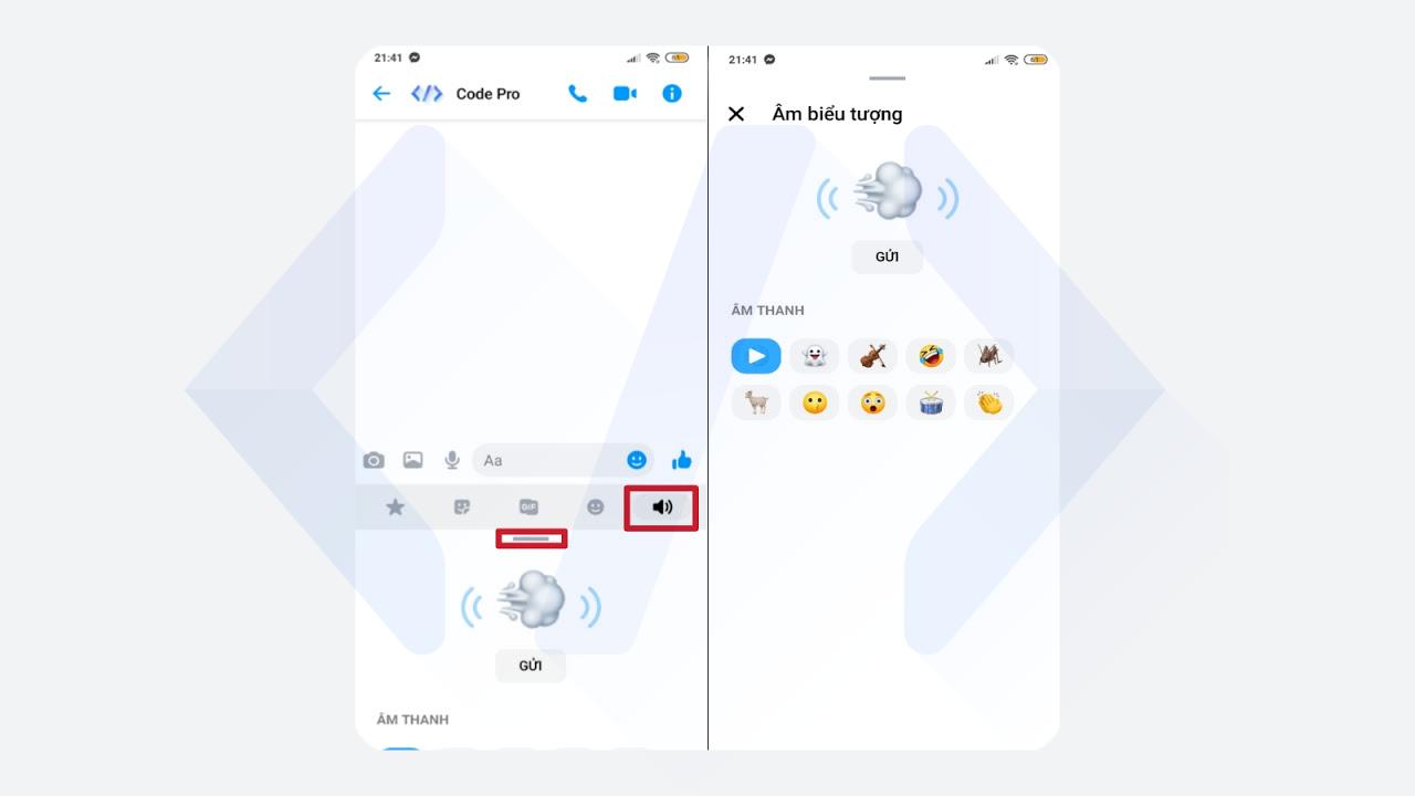 Cách gửi tin nhắn icon có âm thanh trên Messenger