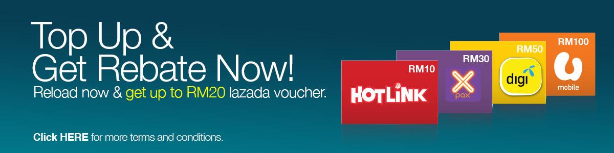 Free Lazada Voucher When Top Up Hotlink, Xpax, Digi, U