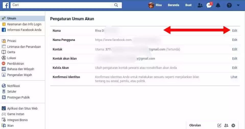 Panduan Cara Mengganti Nama di facebook Tanpa Menunggu 60 Hari Melalui Laptop