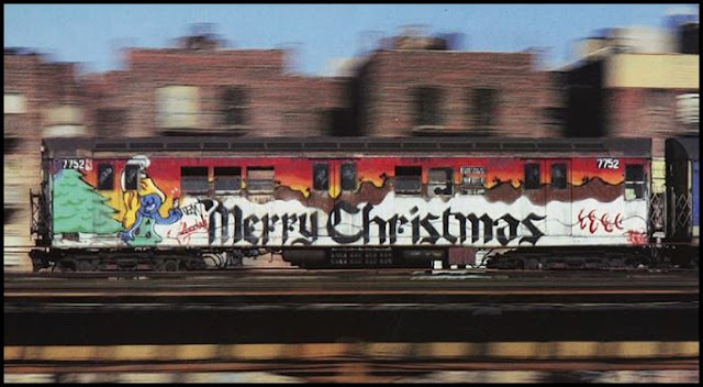 Graffiti Frohe Weihnachten U-Bahn-Kunst