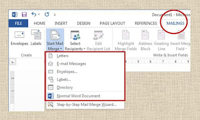 Mail Merge Contents Type in MS word 2013