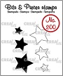 """Mini clearstempels (max 15 x 14 mm),  3 """"open"""" sterren en 3 """"dichte"""" sterren. Mini clearstamps (max 15 x 14 mm), 3 """"outline"""" stars and 3 """"solid"""" stars."""