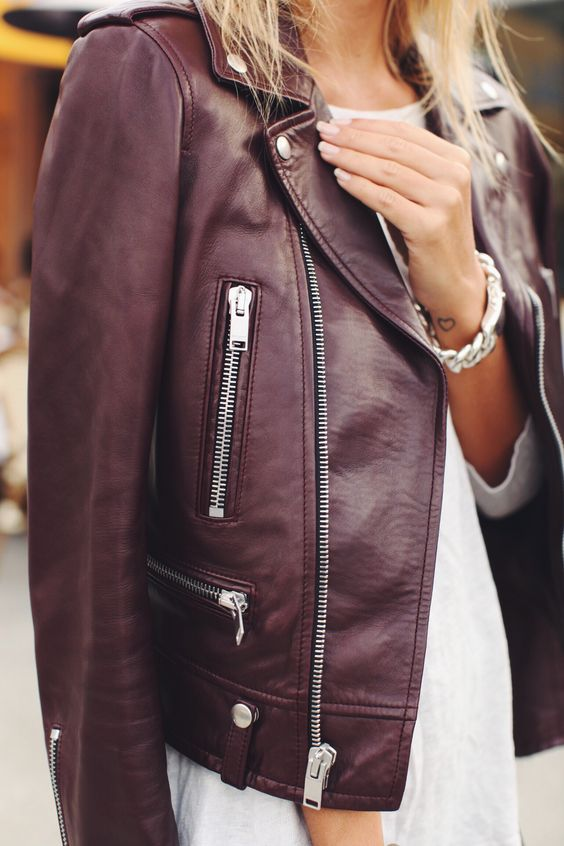 Sincerely Jules - Burgundy Leather Biker Jacket