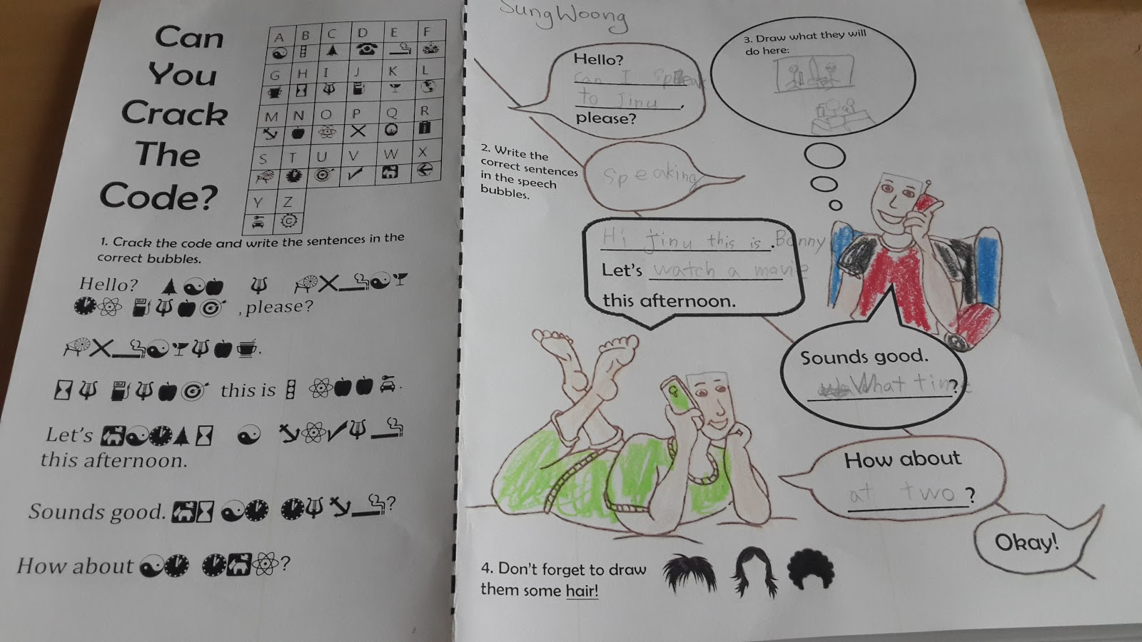 Crack The Code Worksheet For Lesson Hello Can I Speak To