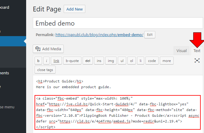 Widget embedded code