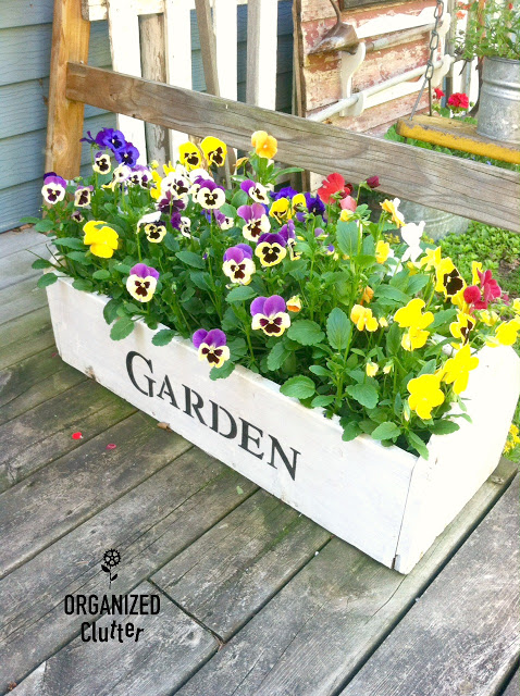 Stenciled Garden Toolbox Planter