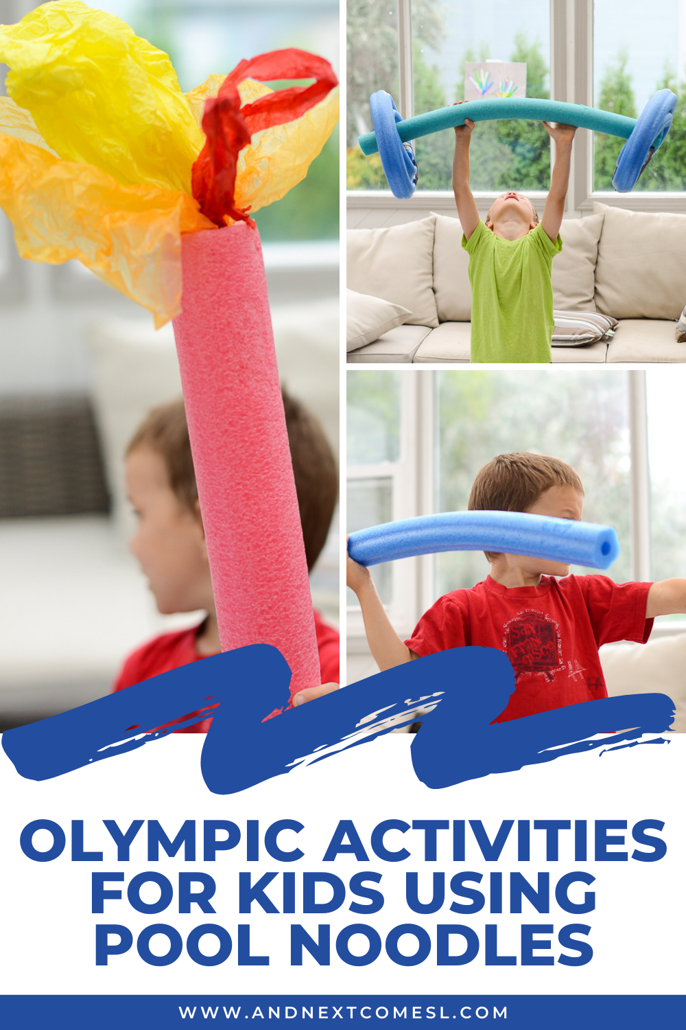 Olympic activities for kids using pool noodles