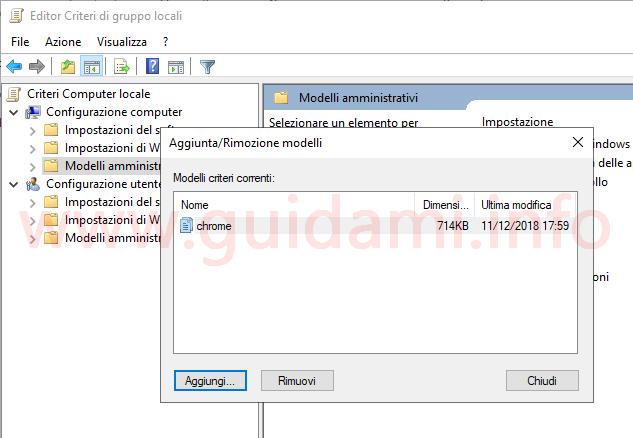 Editor Criteri di gruppo locali finestra Aggiunta Rimozione modelli